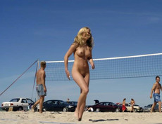 Some teen girl playing volleyball..